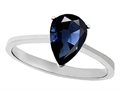 14K Gold Genuine Sapphire Pear Shape 8x6mm Solitaire Engagement Ring