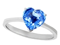 14K Gold Genuine Blue Topaz Heart Shape 8mm Solitaire Engagement Ring