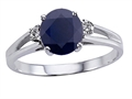 14k White Gold Genuine Sapphire Round 7mm and Diamond Ring