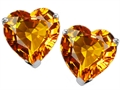14K White Gold Plated 925 Sterling Silver Heart Shape Genuine Citrine Earring Studs