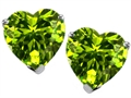 14K White Gold Plated 925 Sterling Silver Heart Shape Genuine Peridot Earring Studs