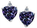 14K White Gold Plated 925 Sterling Silver and Created Heart Shape Alexandrite Earrings