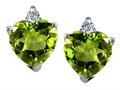 14K White Gold Plated 925 Sterling Silver and Genuine Heart Shape Peridot Earrings