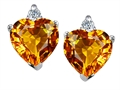 14K White Gold Plated 925 Sterling Silver and Genuine Heart Shape Citrine Earrings