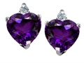 14K White Gold Plated 925 Sterling Silver and Genuine Heart Shape Amethyst Earrings