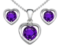 14k White Gold Plated Silver Genuine Amethyst Heart Earrings with Free Box Set matching Pendant