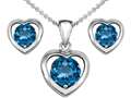 14k White Gold Plated Silver Genuine Blue Topaz Heart Earrings with Free Box Set matching Pendant