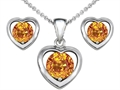 14k White Gold Plated Silver Genuine Citrine Heart Earrings with Free Box Set matching Pendant