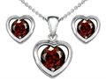 14k White Gold Plated Silver Genuine Garnet Heart Earrings with Free Box Set matching Pendant