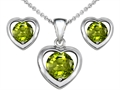 14k White Gold Plated Silver Genuine Peridot Heart Earrings with Free Box Set matching Pendant