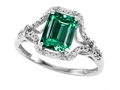 10k Gold AAA Quaility Created Emerald Cut Emerald and Genuine Diamond Ring