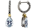 925 Sterling Silver Rope and 18k Gold Two Tone Genuine Aquamarine Hoop Hanging Earrings