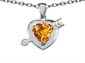 14k White Gold Plated 925 Silver Heart with Arrow Love Pendant with Genuine Citrine
