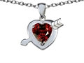 14k White Gold Plated 925 Silver Heart with Arrow Love Pendant with Genuine Garnet