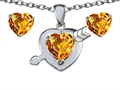 14k White Gold Plated Silver Genuine Citrine Heart with Arrow Pendant Box Set with Free matching earrings