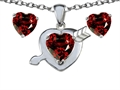 14k White Gold Plated Silver Genuine Garnet Heart with Arrow Pendant Box Set with Free matching earrings