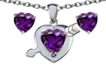 14k White Gold Plated Silver Genuine Amethyst Heart with Arrow Pendant Box Set with Free matching earrings