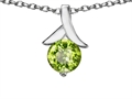 14k White Gold Plated 925 Sterling Silver Round Pendant with Genuine Peridot