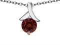 14k White Gold Plated 925 Sterling Silver Round Pendant with Genuine Garnet