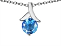 14k White Gold Plated 925 Sterling Silver Round Pendant with Genuine Blue Topaz