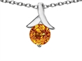 14k White Gold Plated 925 Sterling Silver Round Pendant with Genuine Citrine
