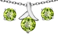 14k White Gold Plated Silver Genuine Peridot Round Pendant Box Set with Free matching earrings