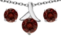 14k White Gold Plated Silver Genuine Garnet Round Pendant Box Set with Free matching earrings