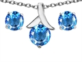 14k White Gold Plated Silver Genuine Blue Topaz Round Pendant Box Set with Free matching earrings