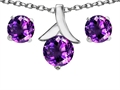 14k White Gold Plated Silver Genuine Amethyst Round Pendant Box Set with Free matching earrings