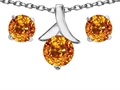 14k White Gold Plated Silver Genuine Citrine Round Pendant Box Set with Free matching earrings