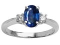 Tommaso Design(tm) Genuine Oval Sapphire Engagement Ring