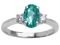Tommaso Design(tm) Genuine Oval Emerald Engagement Ring