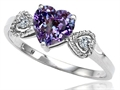 Tommaso Design(tm) Simulated Alexandrite Heart Shape Engagement Promise Ring