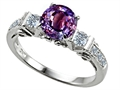 Original Star K(tm) Classic 3 Stone Engagement Ring With Round 7mm Simulated Alexandrite