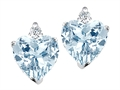 Tommaso Design(tm) 6mm Heart Shape Simulated Aquamarine Earrings Studs