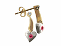 Tommaso Design(tm) Two Tone Genuine Ruby and Diamond Heart Shape Hanging Dangling Earrings