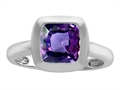 Original Star K(tm) 8mm Cushion Cut Solitaire Engagement Ring With Simulated Alexandrite