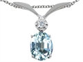 Tommaso Design(tm) Oval 8x6mm Simulated Aquamarine Pendant