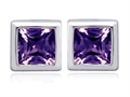 Original Star K(tm) 7mm Square Cut Simulated Alexandrite Earrings Studs