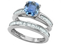 Original Star K(tm) Cushion Cut 7mm Simulated Aquamarine Engagement Wedding Set