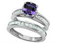 Original Star K(tm) Cushion Cut 7mm Simulated Alexandrite Engagement Wedding Set