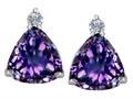Original Star K(tm) 7mm Trillion Cut Simulated Alexandrite Earrings Studs