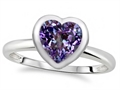 Tommaso Design(tm) 7mm Heart Shape Simulated Alexandrite Engagement Solitaire Ring
