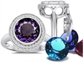 Switch-It Gems(tm) Round 10mm Simulated Alexandrite Ring with 12 Interchangeable Simulated Birth Months