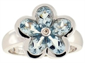 Tommaso Design(tm) Pear Shape Genuine Aquamarine Flower Ring