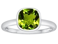 Tommaso Design(tm) 7mm Cushion Cut Genuine Peridot Engagement Solitaire Ring