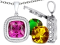 Switch-It Gems(tm) Interchangeable Simulated Pink Tourmaline Pendant Set with 12 Cushion Cut 12mm Simulated Birth Months In