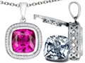 Switch-It Gems(tm) 2in1 Cushion 10mm Simulated Pink Tourmaline Pendant with Interchangeable Simulated White Topaz Included