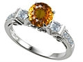 Original Star K(tm) Classic 3 Stone Engagement Ring With Round 7mm Genuine Citrine