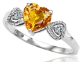 Tommaso Design(tm) Genuine Citrine Heart Shape Engagement Promise Ring